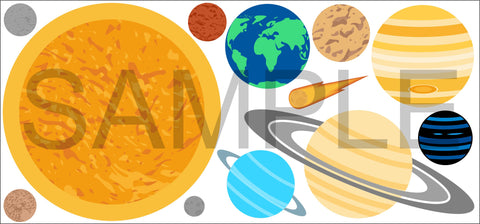 SOLAR SYSTEM PLANETS SPACE Wall Sticker Pack