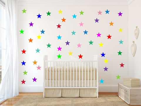 Rainbow multicolour STARS wall stickers kit