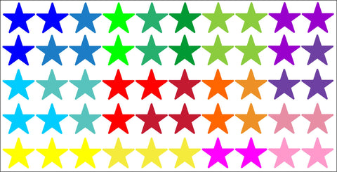 Rainbow multicolour stars wall stickers