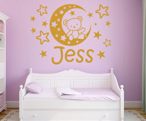 Personalised Teddy Bear Moon Stars wall sticker art decal graphic 4 size nursery