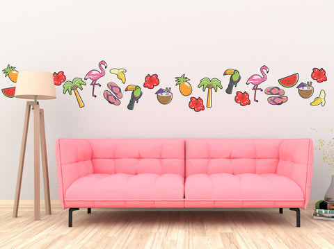 Tropical Wall Sticker Pack Flamingo Toucan Holiday