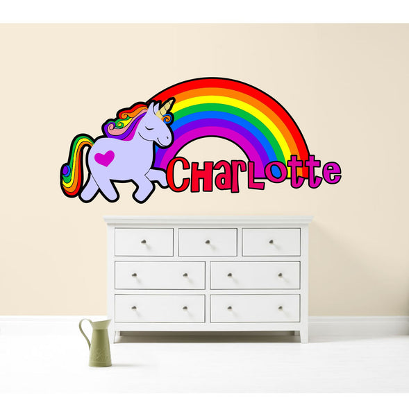RAINBOW UNICORN PERSONALISED WALL STICKER GIRLS bedroom decor decal art ANY NAME