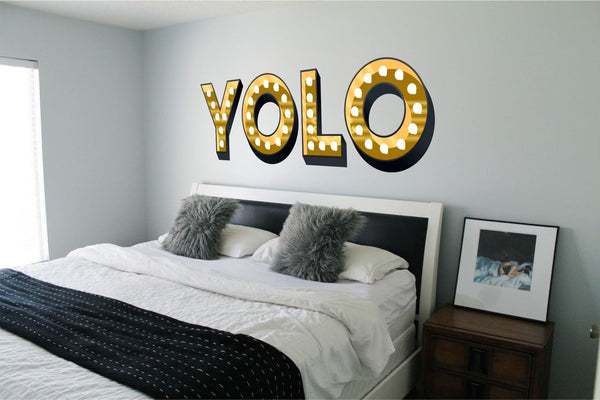 YOLO ILLUMINATED LIGHT UP EFFECT LETTERS WALL STICKERS DECAL