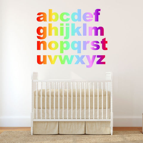 Rainbow Alphabet letters multicolour wall stickers kit