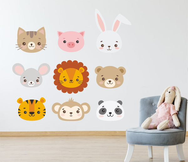 PASTEL ANIMAL CUTE Faces Wall Stickers Decals Nursery Children's Bedroom