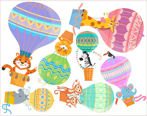 Hot Air Balloons Zoo Animals Wall Art Sticker Kit Decal Graphic Cute Nursery