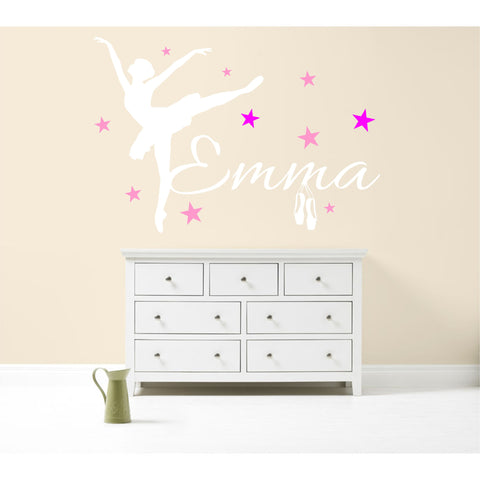 PERSONALISED BALLERINA BALLET WALL STICKER DECAL GIRL'S BEDROOM