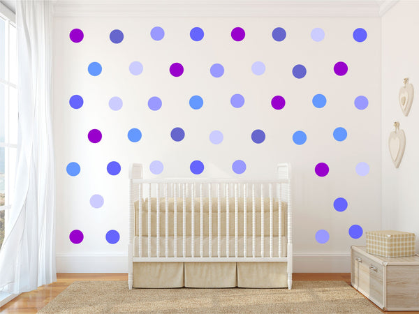 Blue purple confetti polka dots spots wall stickers kit boy's bedroom nursery