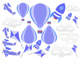 Hot Air Balloons, Planes, Kites & Rockets Wall Art Sticker Kit Decal Nursery