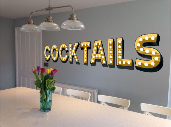 COCKTAILS ILLUMINATED LIGHT UP EFFECT LETTERS WALL STICKERS DECAL