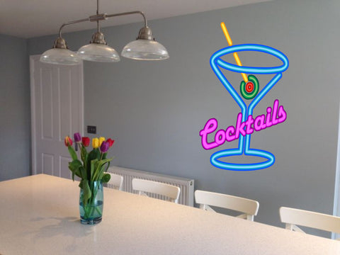 Cocktails Sign neon effect Kitchen Wall Sticker Decal Graphic Martini Glass various sizes
