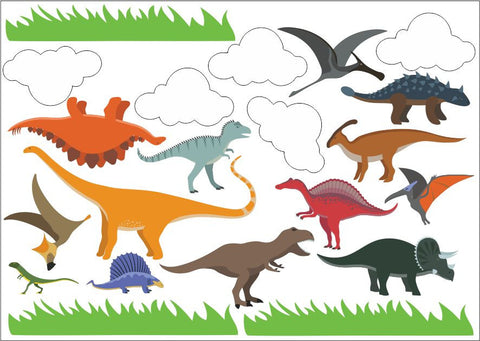 Dinosaurs Wall Art Sticker Kit Decal Graphic Cute Child Friendly Nursery