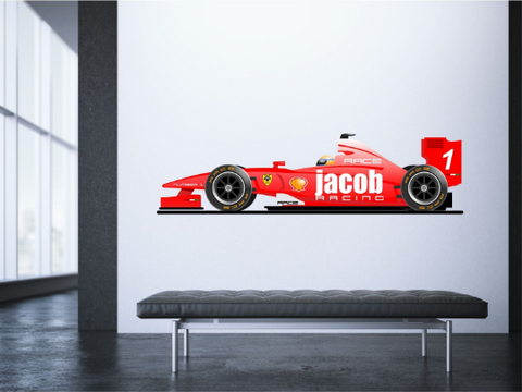 Racing Car F1 Personalised Wall Sticker Decal