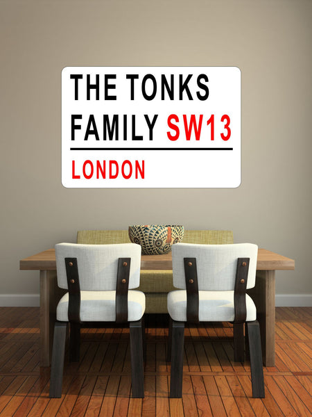 Personalised Family name London Street Sign wall sticker