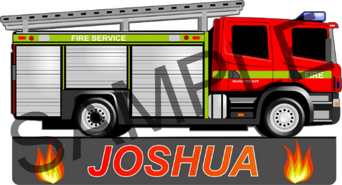 Fire Engine personalised wall sticker decal