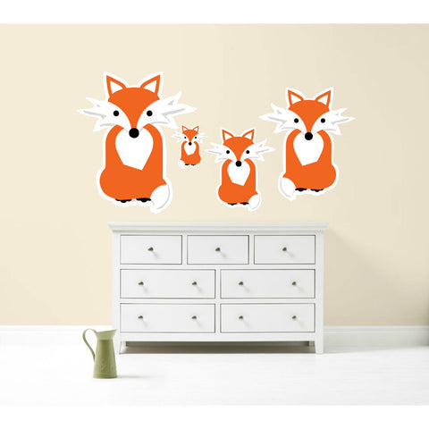 Fox Family Wall Sticker Pack Decal Graphic Animal Love Pet
