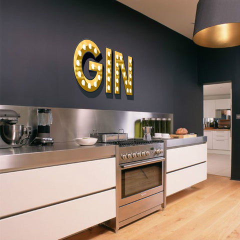 GIN ILLUMINATED LIGHT UP EFFECT LETTERS WALL STICKERS DECAL alcohol lover