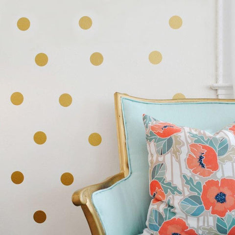 Gold confetti polka dots spots wall stickers kit nursery