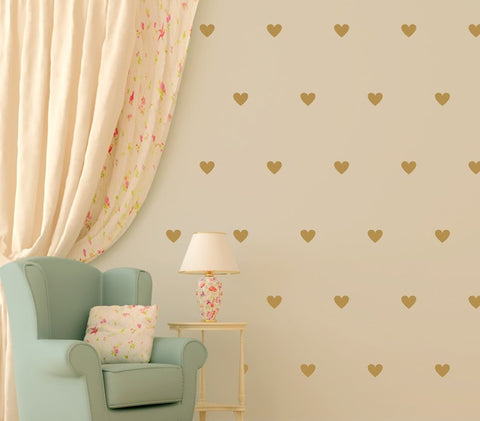 Hearts wall stickers kit - all colours and two size options