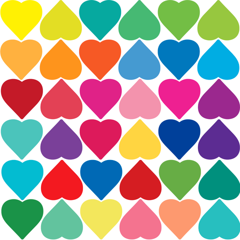 Rainbow multicolour hearts wall stickers