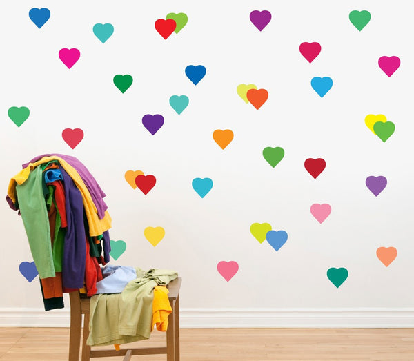 Rainbow multicolour confetti hearts wall stickers kit
