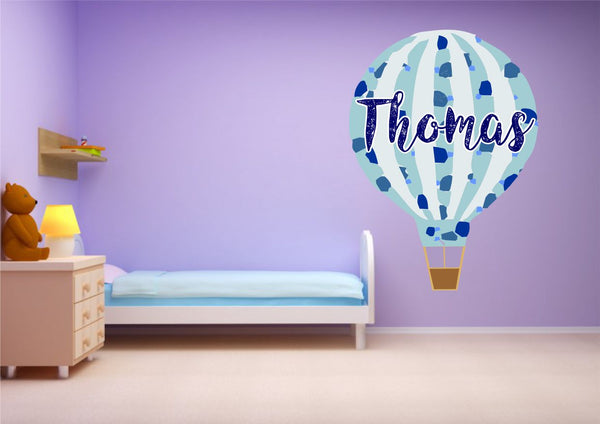 Personalised Hot Air Balloon Blue Boys Wall Art Sticker Decal