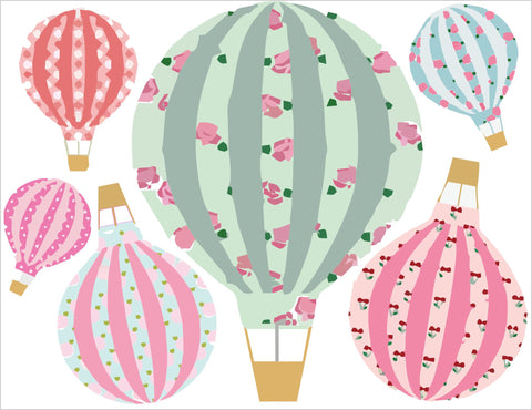 Hot Air Balloons Vintage Floral Wall Art Sticker Kit Decal Graphic Cute Nursery