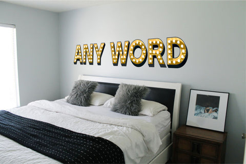 ILLUMINATED LIGHT UP EFFECT LETTERS WALL STICKERS-DECAL - ANY LETTER CHICAGO LAS VEGAS STYLE