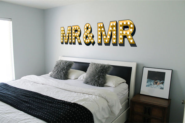 MR & MR ILLUMINATED LIGHT UP EFFECT LETTERS WALL STICKERS DECAL wedding gift same sex marriage gay