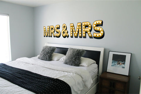 MRS & MRS ILLUMINATED LIGHT UP EFFECT LETTERS WALL STICKERS DECAL wedding gift same sex marriage gay lesbian