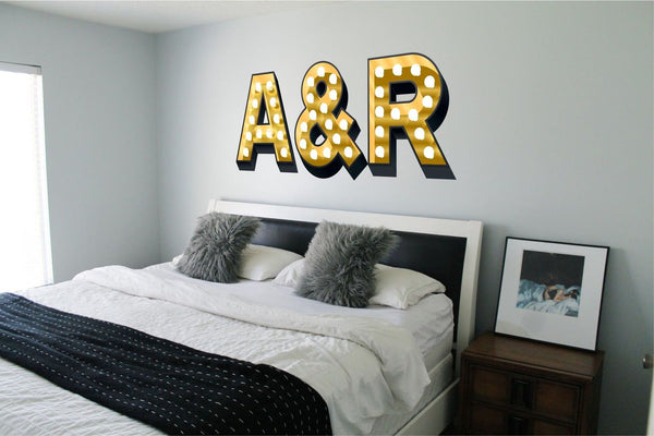 INITIALS COUPLE ILLUMINATED LIGHT UP EFFECT LETTERS WALL STICKERS DECAL