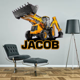 Digger wall sticker decal personalised