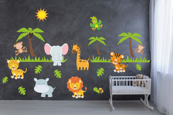 JUNGLE ANIMALS wall stickers pack nursery