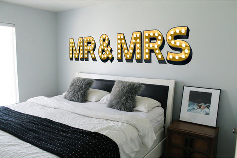 MR & MRS ILLUMINATED LIGHT UP EFFECT LETTERS WALL STICKERS DECAL wedding gift marriage