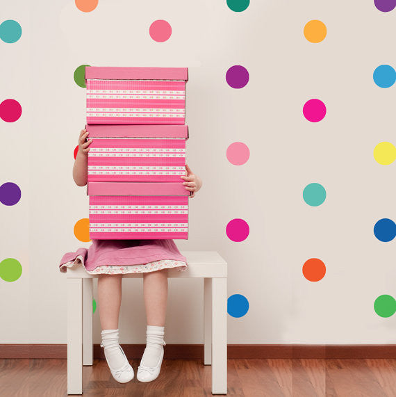 Rainbow multicolour confetti polka dots spots wall stickers kit