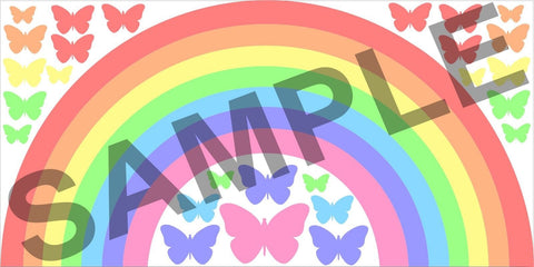 Pastel Rainbow & Butterflies children's bedroom nursery decal wall art vinyl sticker