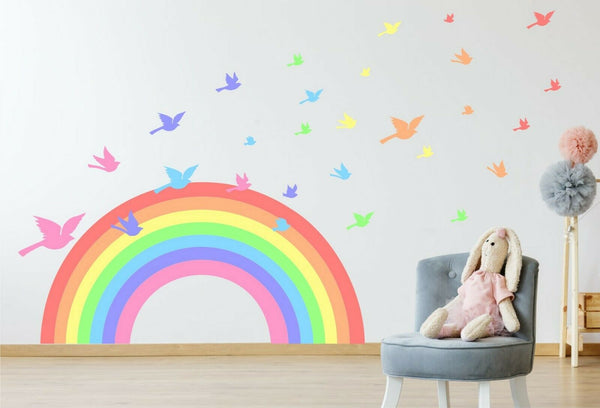 Pastel Rainbow & Birds children's bedroom nursery decal wall art vinyl stickers