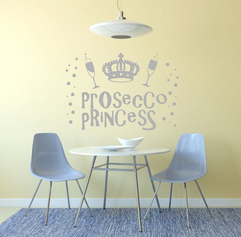 Prosecco Princess Wine Bubbles Champagne Party kitchen novelty decal wall sticker crown