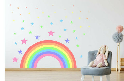 Pastel Rainbow & Stars children's bedroom nursery decal wall art vinyl stickers