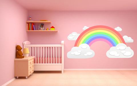 Pastel Rainbow and Clouds children's bedroom nursery decal wall sticker