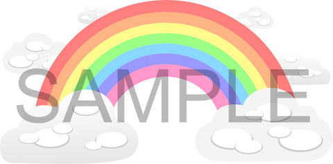 Pastel Rainbow and Clouds wall sticker