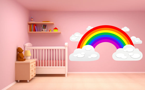 Rainbow and Clouds children's bedroom nursery decal wall sticker