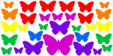 RAINBOW BUTTERFLIES WALL ART STICKER KIT DECAL GRAPHIC CUTE NURSERY
