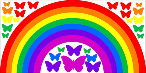 Rainbow & Butterflies children's bedroom nursery decal wall art vinyl sticker