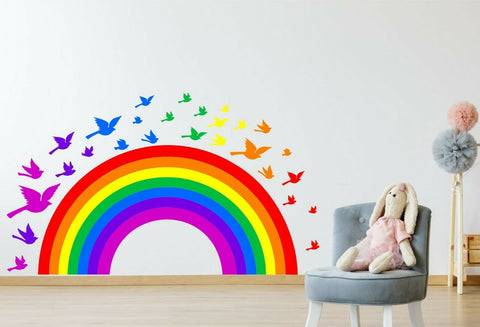 Rainbow & Birds children's bedroom nursery decal wall art vinyl stickers