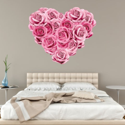 Rose Heart Rustic Wall Sticker Pink Art Bedroom Flower Pretty Girly Love Vintage Decor