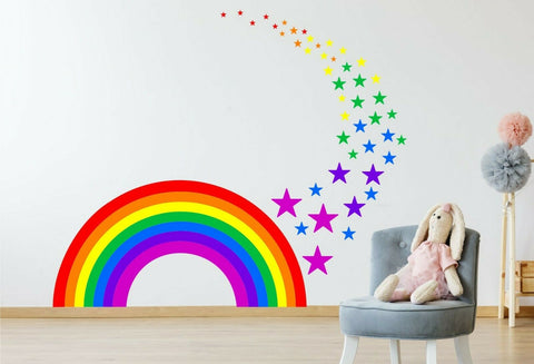 Rainbow & Stars children's bedroom nursery decal wall art vinyl stickers