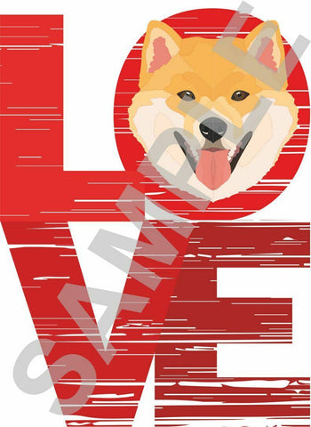 Japanese Shiba Inu LOVE vinyl wall sticker decal 4 sizes