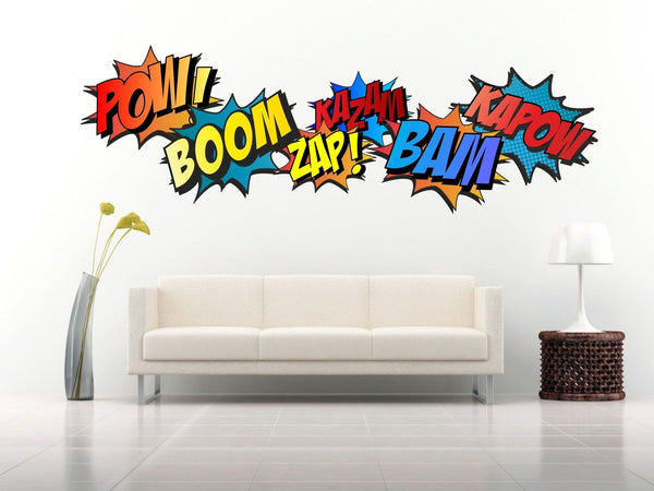 Superhero COMIC WORDS RETRO KAPOW BOOM ZAP BAM Wall Art Sticker Kit decal