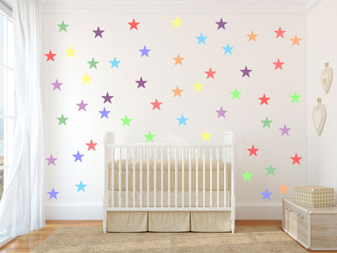 Pastel Rainbow multicolour STARS wall stickers kit